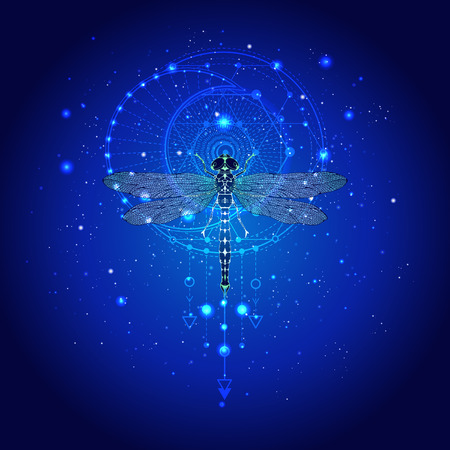 Vector illustration with hand drawn dragonfly and Sacred geometric symbol against the starry sky. Abstract mystic sign. Linear shape. For you design: tattoo, print, posters, t-shirts, textiles and other.