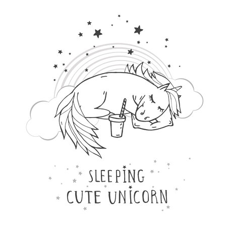 Vector illustration of hand drawn cute sleeping unicorn with coffee, rainbow and text – SLEEPIG CUTE UNICORN on withe background. For print, t-shits, greeting cards, poster, children room decoration and other. Cartoon style. Monochrome.