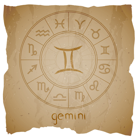 Vector illustration with hand drawn Zodiac sign GEMINI on a grunge old background with torn edge.