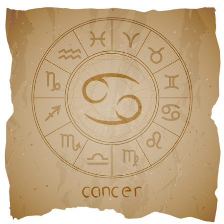 Vector illustration with hand drawn Zodiac sign CANCER on a grunge old background with torn edge.