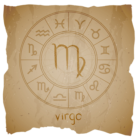 Vector illustration with hand drawn Zodiac sign VIRGO on a grunge old background with torn edge.