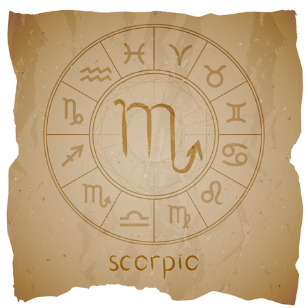 Vector illustration with hand drawn Zodiac sign SCORPIO on a grunge old background with torn edge. Illustration