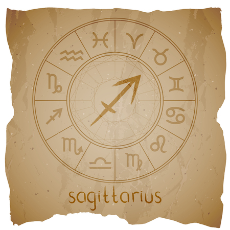 Vector illustration with hand drawn Zodiac sign SAGITTARIUS on a grunge old background with torn edge.