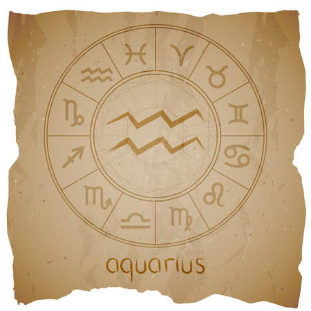 Vector illustration with hand drawn Zodiac sign AQUARIUS on a grunge old background with torn edge.