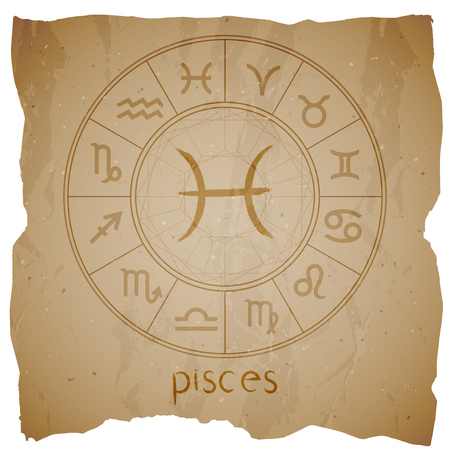 Vector illustration with hand drawn Zodiac sign PISCES on a grunge old background with torn edge. Illustration