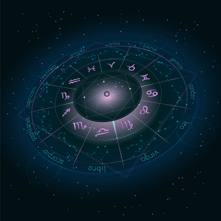 Illustration with Horoscope circle, Zodiac symbols and astrology constellations on the starry night sky background with geometry pattern. Image in perspective. Pink and turquoise elements. Vector.