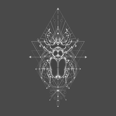 Vector illustration with hand drawn stag beetle and Sacred geometric symbol on black vintage background. Abstract mystic sign. White linear shape. For you design: tattoo, print, posters, t-shirts, textiles and other.