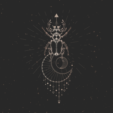 Vector illustration with hand drawn stag beetle and Sacred geometric symbol on black vintage background. Abstract mystic sign. Gold linear shape. For you design: tattoo, print, posters, t-shirts, textiles and other. 向量圖像