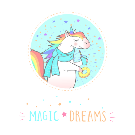Vector sticker or icon with hand drawn cute unicorn, coffee and text - MAGIC DREAMS on withe background. For your design. Cartoon style. Colored.