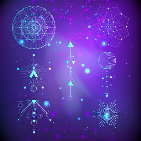 Illustration vectorielle de symboles sacrés ou mystiques sur fond abstrait. Signes géométriques dessinés en lignes. Multicolore. Pour vous la conception et l'artisanat magique.