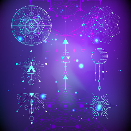 Vector illustration of Sacred or mystic symbols on abstract background. Geometric signs drawn in lines. Multicolored. For you design and magic craft. Illustration