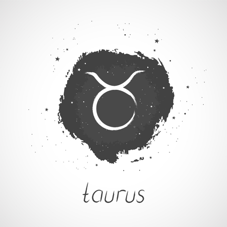 Vector illustration with Hand drawn Zodiac sign TAURUS on a grunge ink background. Monochrome.