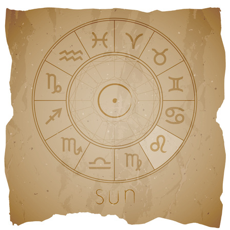 Vector illustration with Hand drawn astrological planet symbol SUN on a grunge old background with torn edge. Sepia.