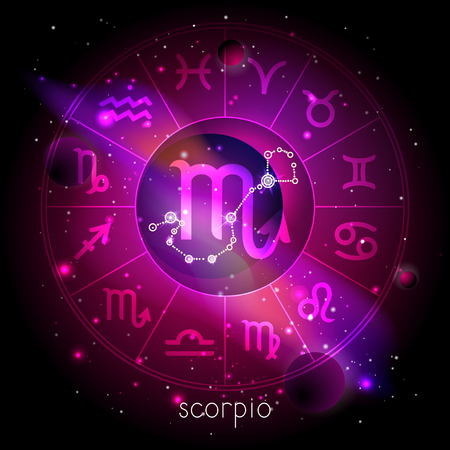 Vector illustration of sign and constellation SCORPIO with Horoscope circle against the space background with planets and stars. Sacred symbols in red and purple colors.