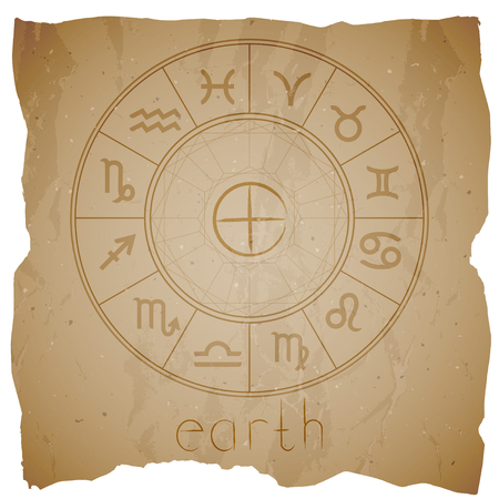 Vector illustration with Hand drawn astrological planet symbol EARTH on a grunge old background with torn edge. Sepia. Illustration