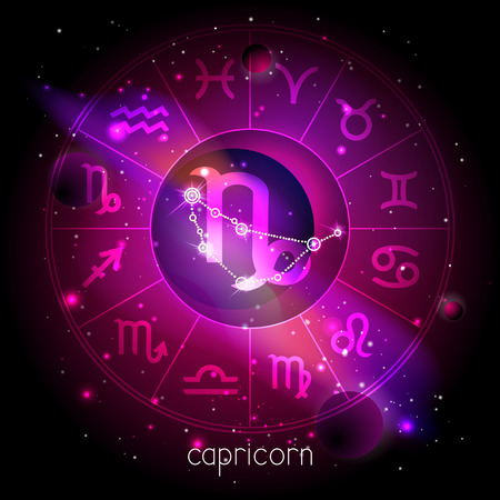 Vector illustration of sign and constellation CAPRICORN with Horoscope circle against the space background with planets and stars. Sacred symbols in red and purple colors.