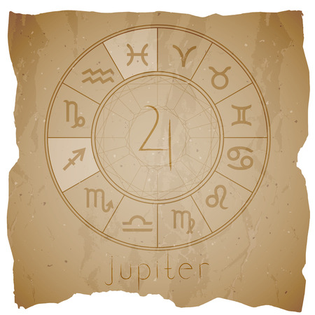 Vector illustration with Hand drawn astrological planet symbol JUPITER on a grunge old background with torn edge. Sepia.