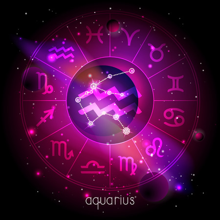 Vector illustration of sign and constellation AQUARIUS with Horoscope circle against the space background with planets and stars. Sacred symbols in red and purple colors. Illustration