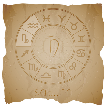 Vector illustration with Hand drawn astrological planet symbol SATURN on a grunge old background with torn edge. Sepia. Illustration