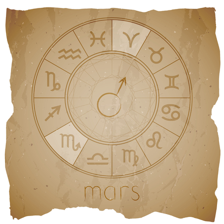 Vector illustration with Hand drawn astrological planet symbol MARS on a grunge old background with torn edge. Sepia.