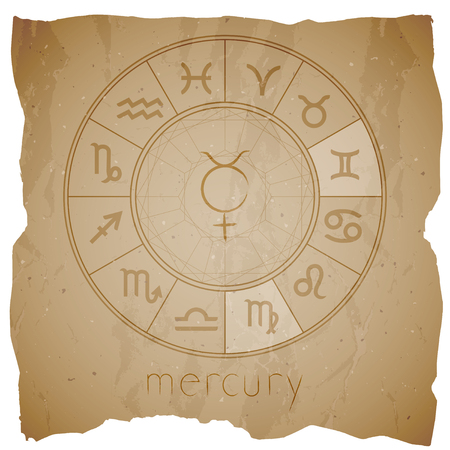 Vector illustration with Hand drawn astrological planet symbol URANUS on a grunge old background with torn edge. Sepia.