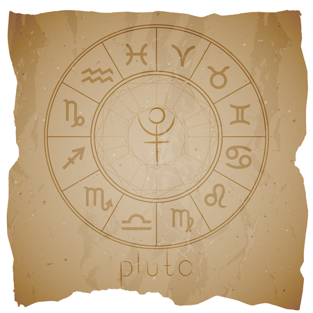 Vector illustration with Hand drawn astrological planet symbol PLUTO on a grunge old background with torn edge. Sepia.