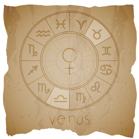 Vector illustration with Hand drawn astrological planet symbol VENUS on a grunge old background with torn edge. Sepia.