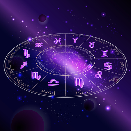 Vector illustration of Horoscope circle with Zodiac signs against the space background with planets, stars and geometry pattern. 3D symbols in purple colors. In perspective.