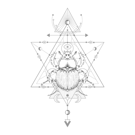 Vector illustration with hand drawn scarab and Sacred geometric symbol on white background. Abstract mystic sign. Black linear shape. For you design: tattoo, print, posters, t-shirts, textiles and magic craft.