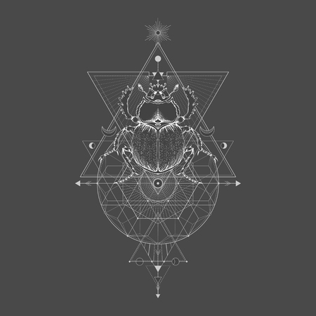 Vector illustration with hand drawn scarab and Sacred geometric symbol on black vintage background. Abstract mystic sign sign. White linear shape. For you design: tattoo, print, posters, t-shirts, textiles and other.