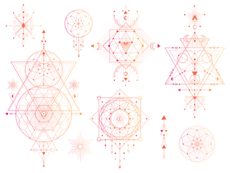 Vector set of Sacred geometric symbols with moon, eye, arrows, dreamcatcher on white background. Abstract mystic signs collection. Colored linear shapes. For you design: tattoo, print, posters, t-shirts, textiles.