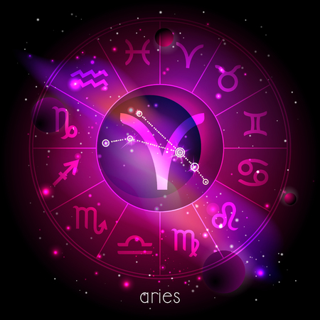 Vector illustration of sign and constellation ARIES with Horoscope circle against the space background with planets and stars. Sacred symbols in red and purple colors.