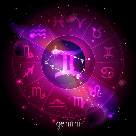 Vector illustration of sign and constellation GEMINI with Horoscope circle against the space background with planets and stars. Sacred symbols in red and purple colors.