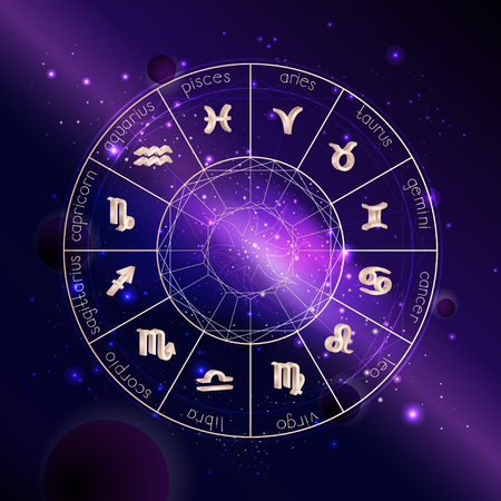 Vector illustration of Horoscope circle with 3D Zodiac signs against the space background with planets, stars and geometry pattern. 3D symbols in gold colors.