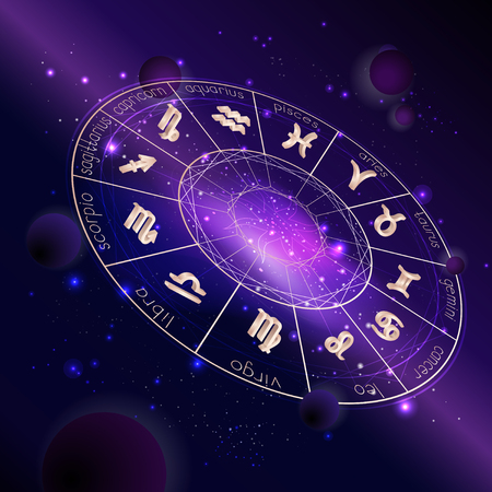 Vector illustration of Horoscope circle with Zodiac signs against the space background with planets, stars and geometry pattern. 3D symbols in gold colors. In perspective. Illustration
