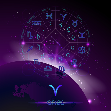 Vector illustration of sign and constellation ARIES and Horoscope circle with astrology pictograms against the space background with sunrise. Sacred symbols in blue and purple colors.