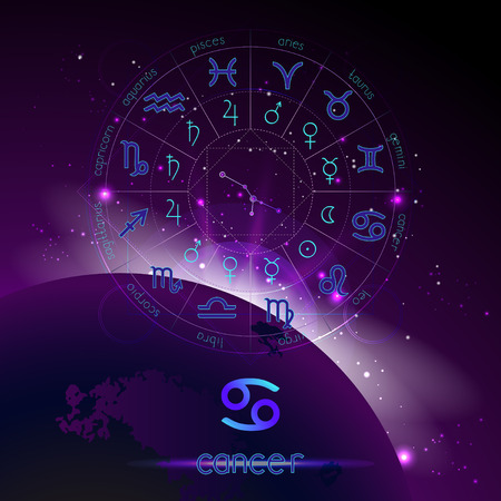 Vector illustration of sign and constellation CANCER and Horoscope circle with astrology pictograms against the space background with sunrise. Sacred symbols in blue and purple colors.
