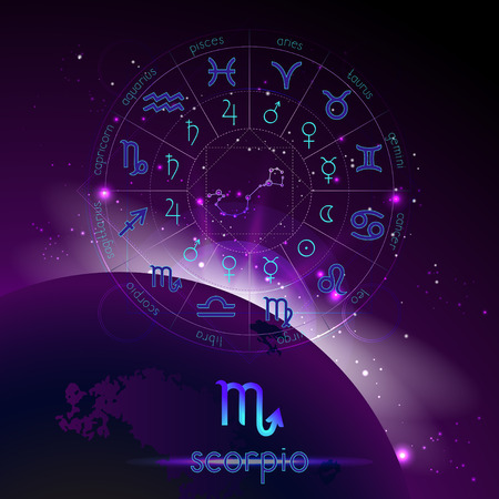 Vector illustration of sign and constellation SCORPIO and Horoscope circle with astrology pictograms against the space background with sunrise. Sacred symbols in blue and purple colors.