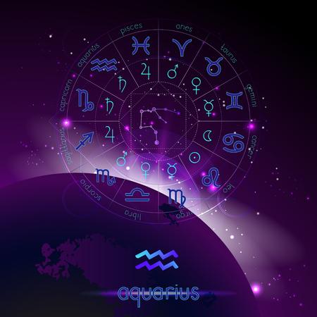 Illustration vectorielle du signe et de la constellation du VERSEAU et du cercle d'horoscope avec des pictogrammes d'astrologie sur le fond de l'espace avec le lever du soleil. Symboles sacrés aux couleurs bleu et violet.