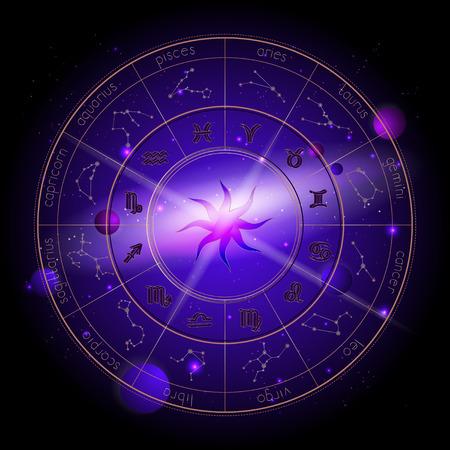 Illustration vectorielle du cercle Horoscope, des signes du zodiaque et des planètes d'astrologie de pictogrammes sur le fond de l'espace avec des planètes, des étoiles et un motif géométrique Soleil. Dans les couleurs or et violet.