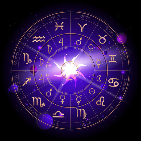 Vector illustration of Horoscope circle, Zodiac signs and pictograms astrology planets against the space background with planets, stars and geometry pattern Sun. In gold and purple colors. Illustration