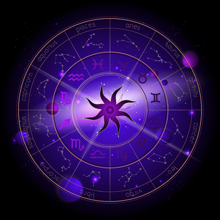 Vector illustration of Horoscope circle, Zodiac signs and astrology constellations against the space background with planets, stars and geometry pattern Sun. In gold and purple colors. Illustration