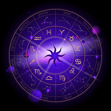 Vector illustration of Horoscope circle, Zodiac signs and pictograms astrology planets against the space background with planets, stars and geometry pattern Sun. In gold and purple colors. Stock Illustratie