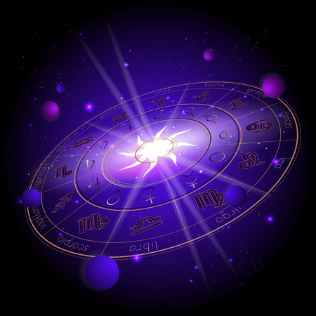 Vector illustration of Horoscope circle in perspective, Zodiac signs and pictograms astrology planets against the space background with planets, stars and geometry pattern Sun. In gold and purple colors.