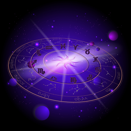 Vector illustration of Horoscope circle in perspective, 3D Zodiac signs and pictograms astrology planets against the space background with planets, stars and geometry pattern Sun. In gold and purple colors.