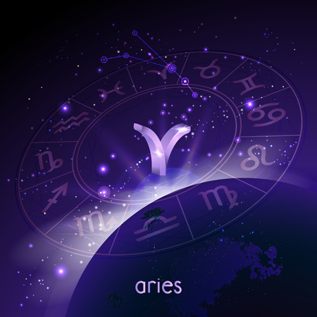 Vector illustration of 3D sign and constellation ARIES with Horoscope circle in perspective against the space background with sunrise and earth. Sacred symbols in purple colors.
