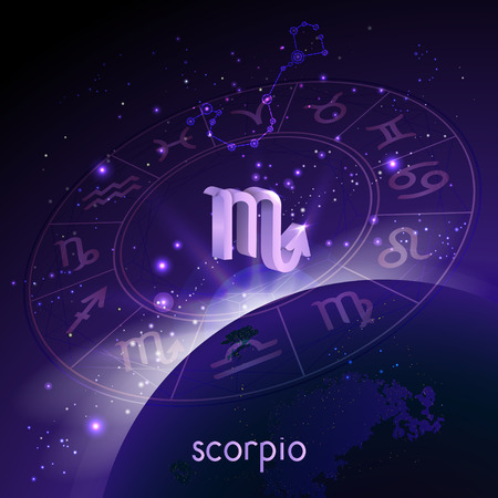 Vector illustration of 3D sign and constellation SCORPIO with Horoscope circle in perspective against the space background with sunrise and earth. Sacred symbols in purple colors.