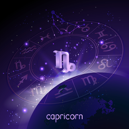 Vector illustration of 3D sign and constellation CAPRICORN with Horoscope circle in perspective against the space background with sunrise and earth. Sacred symbols in purple colors. Illustration