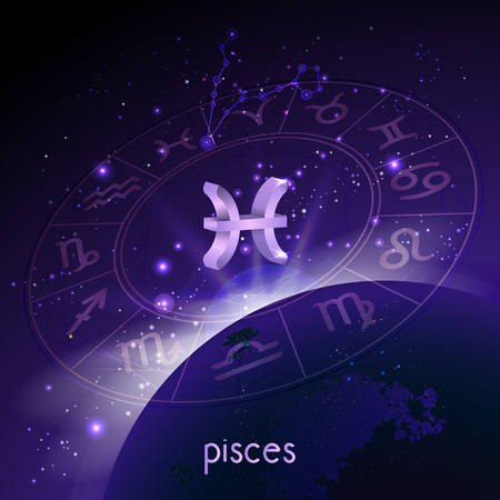 Vector illustration of 3D sign and constellation PISCES with Horoscope circle in perspective against the space background with sunrise and earth. Sacred symbols in purple colors. Illustration