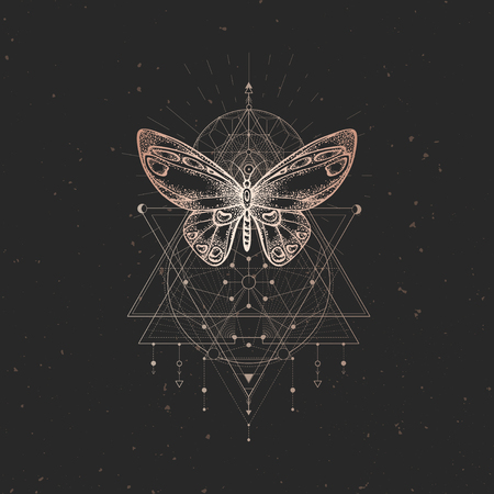 Vector illustration with hand drawn butterfly and Sacred geometric symbol on black vintage background. Abstract mystic sign. Gold linear shape. For you design or magic craft. Illustration